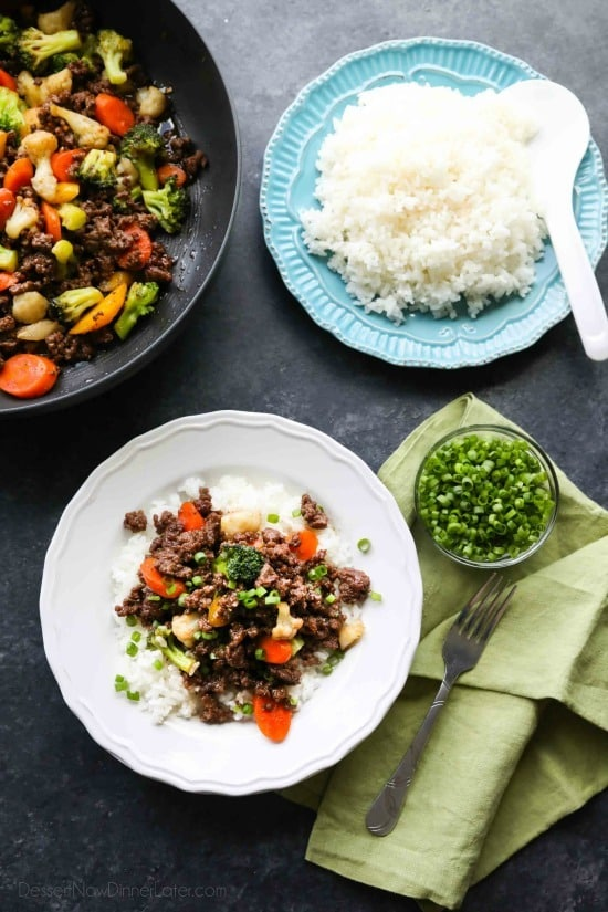 This cheap and easy Korean Beef recipe is made with ground beef instead of flank steak. It's simmered in a simple, yet flavorful sauce with added vegetables for a well-rounded meal. Serve with rice, and you've got a delicious dinner ready in 20 minutes or less!