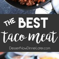 The BEST taco meat ever! It's saucy and full of flavor made with an easy homemade taco seasoning. A recipe the whole family will enjoy for Taco Tuesdays!