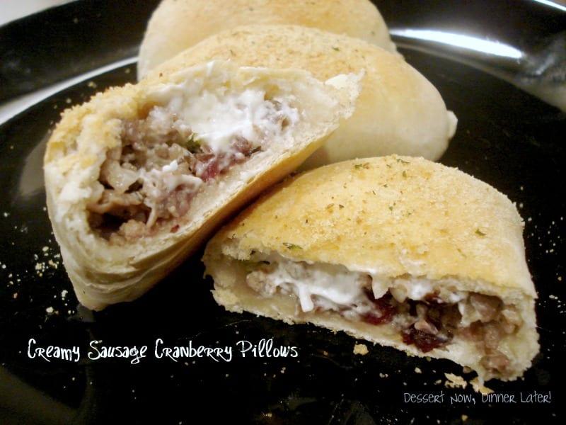 Creamy Sausage Cranberry Pillows