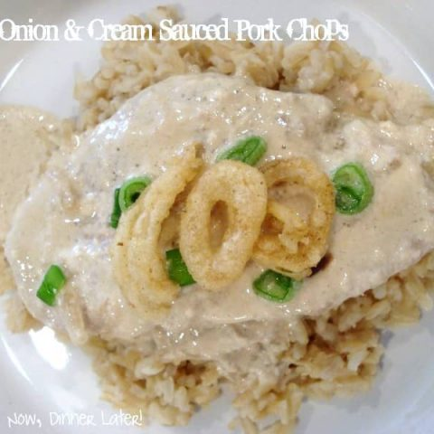 Onion & Cream Sauced Pork Chops