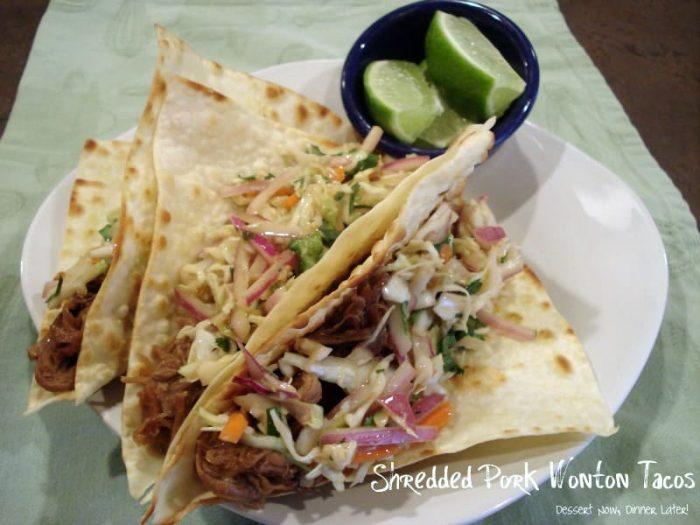 Shredded Pork Wonton Tacos