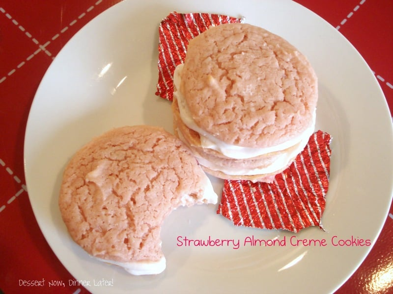 Strawberry Almond Creme Cookies