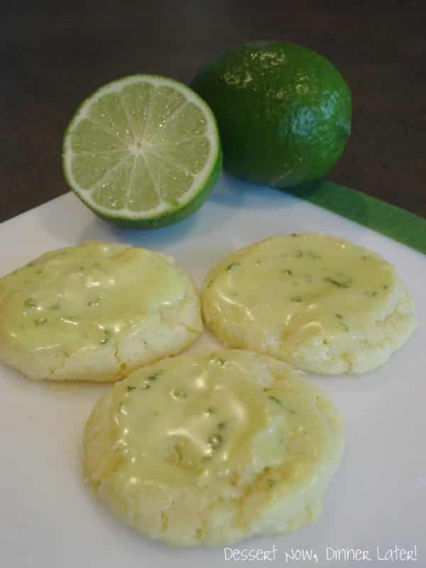 Lime Crinkle Cookies with Glaze