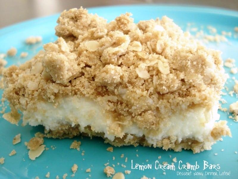 Lemon Cream Crumb Bars - Dessert Now, Dinner Later!