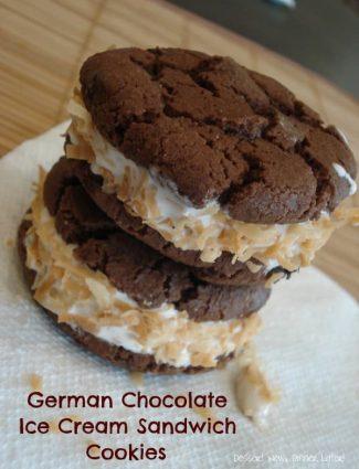 German Chocolate Cookie Ice Cream Sandwiches