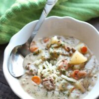 This creamy cheeseburger soup is full of hearty chunks of vegetables and beef with a slight kick of pepper jack cheese. Super comforting for the cold weather months!