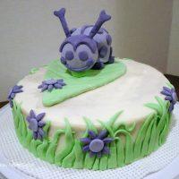 Ladybug Cake with Marshmallow Fondant Decorations