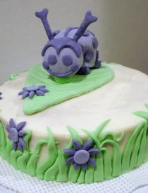 Ladybug Cake with Marshmallow Fondant Decorations