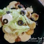Tator Tot Tacos with Homemade Nacho Cheese Sauce