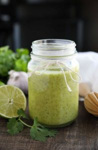 This Cilantro Lime Vinaigrette makes a great salad dressing or marinade for veggies and meat. It's creamy, tangy, and robust!