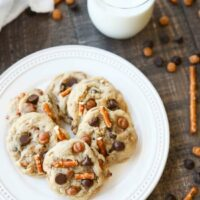 Caramel Pretzel Chocolate Chip Cookies (+ Video)