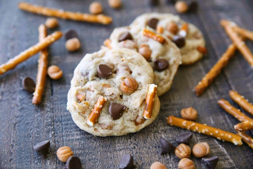 Caramel Pretzel Chocolate Chip Cookies are loaded with pretzels, caramel bits, and chocolate chips, for a salty-sweet cookie treat.