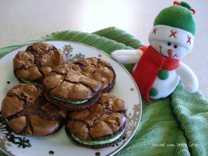 Creme De Menthe Brownie Sandwiches