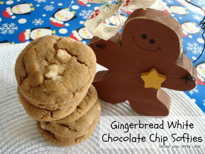 Gingerbread White Chocolate Chip Softies are tender and chewy with molasses and spices for the perfect holiday cookie!
