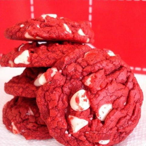 Red Velvet White Chocolate Chip Cookies are easily made with a boxed cake mix! Great for a Christmas or Valentine's Day treat!