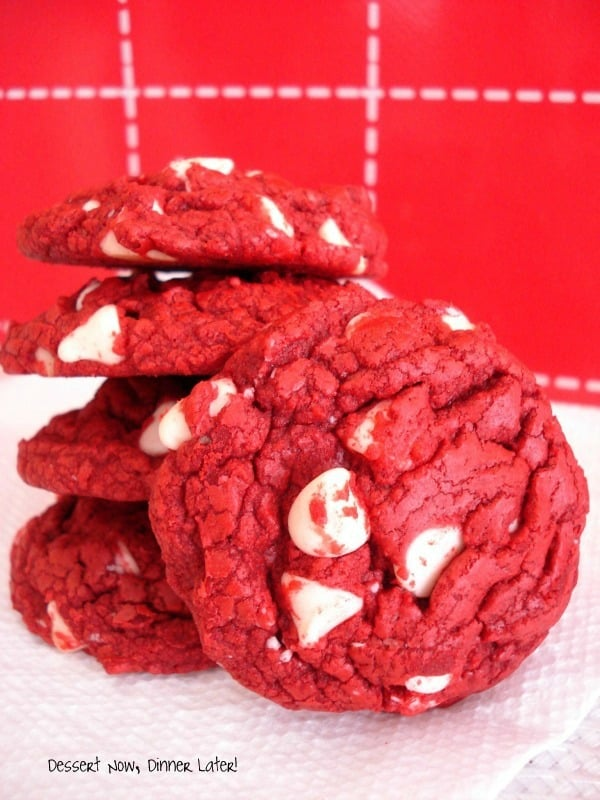 Red Velvet White Chocolate Chip Cookies Made With Cake Mix