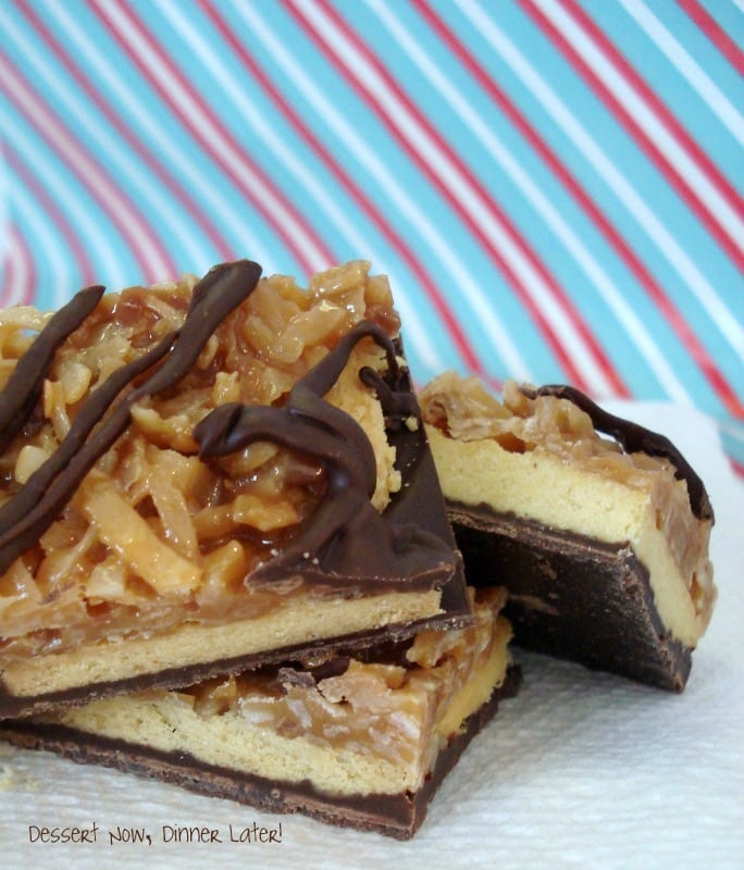 Samoa Bark is made with shortbread cookies, caramel and coconut, with chocolate on bottom and top!