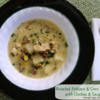 Roasted Poblano Corn Chowder with Chicken & Sausage