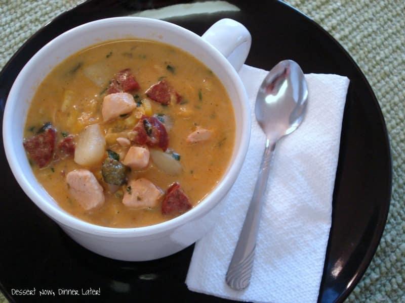 Roasted Poblano & Corn Chowder with Chicken & Chorizo