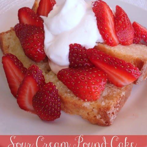 Sour Cream Pound Cake with Strawberries & Cream