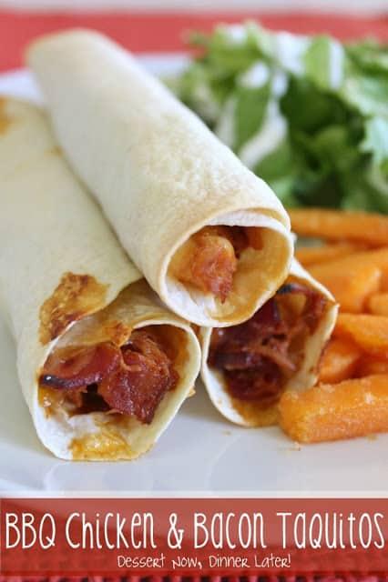 BBQ Chicken & Bacon Taquitos - Dessert Now, Dinner Later!