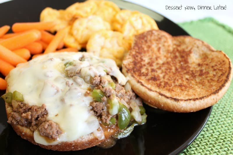 These Philly Cheesesteak Sloppy Joes have your favorite philly ingredients of peppers, onions, and melty cheese wrapped up in a beefy sloppy joe sandwich!