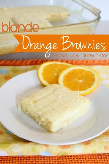 Blonde Orange Brownies are moist and citrusy with fruity cream cheese glaze.