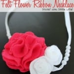 Felt Flower Ribbon Necklace