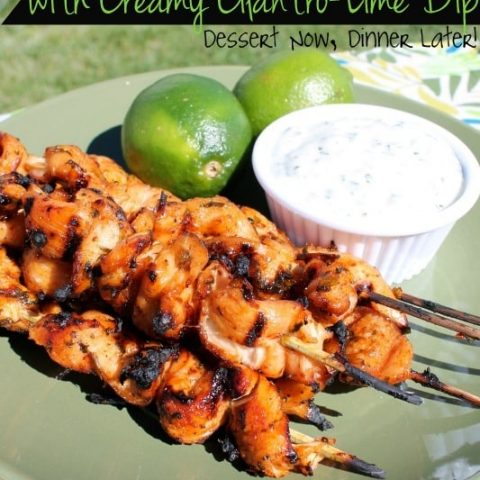 Chipotle Chicken Skewers with Creamy Cilantro Lime Dip