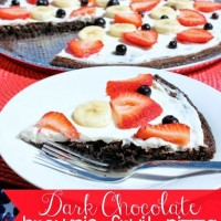 Dark Chocolate Brownie Fruit Pizza