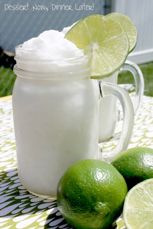 2 ingredients plus ice and a little water gets you this refreshing Frozen Coconut Limeade!  A perfect summer drink the whole family can enjoy!