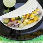 Crockpot Jerk Pork Tacos with Avocado & Mango Salsa