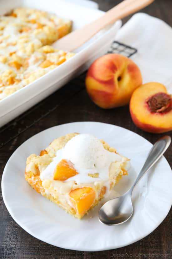 Peach cobbler meets cheesecake in this delicious dessert duo! An easy and unique twist from a traditional peach cobbler. There's cake mixture on bottom and on top, with peaches and cheesecake in-between.