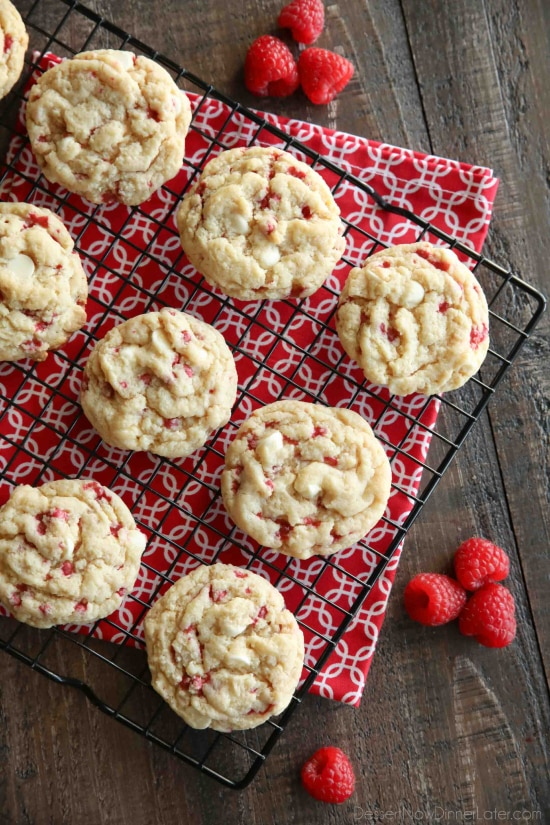 Raspberry Cheesecake Cookies are soft, chewy, and fruity! The best part is that they are made with a muffin mix which makes it a super easy dessert!