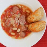 Tuscan Sausage & Bean Soup with Parmesan Toasts