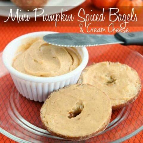 Mini Pumpkin Spiced Bagels & Cream Cheese