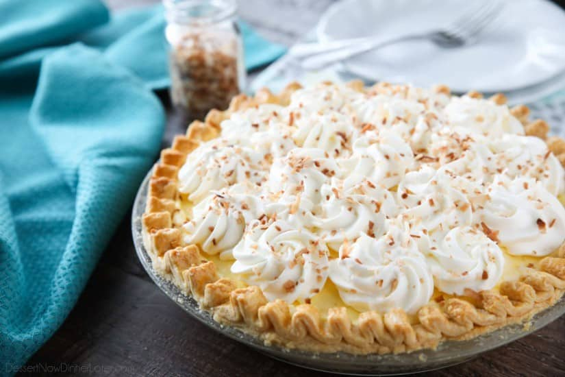 This Easy Coconut Cream Pie is light, delicious, and simple using instant coconut pudding, whipped cream, and toasted coconut.
