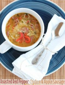 Roasted Red Pepper Chicken & Apple Sausage Orzo Soup