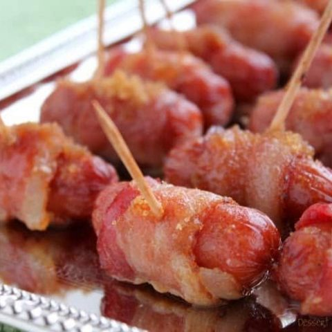 Bacon Wrapped Mini Sausages with Brown Sugar