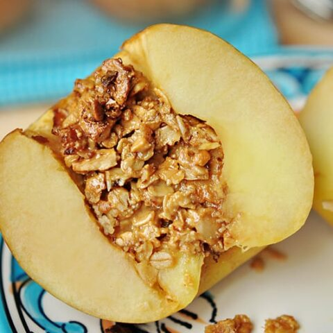 Baked Stuffed Apples with Peanut Butter Granola