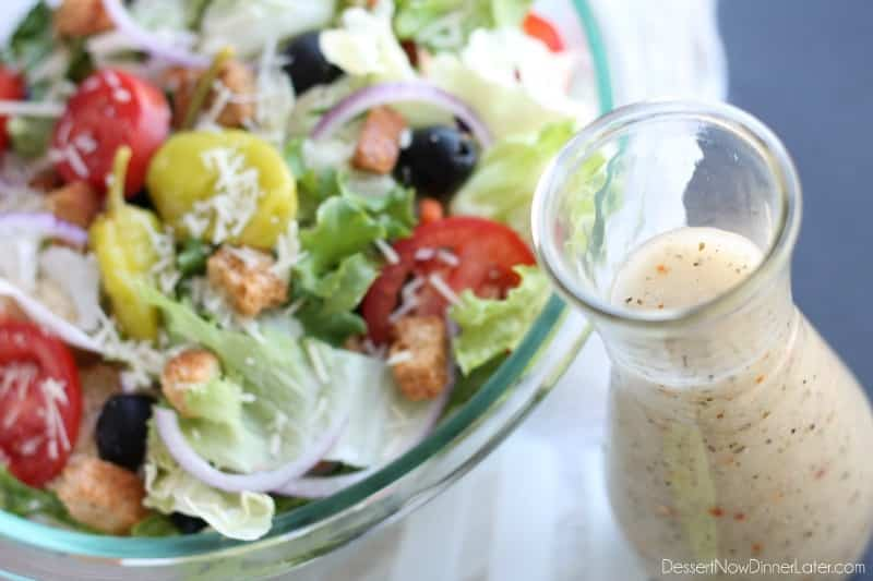 Copycat Olive Garden Salad Dressing (+ Video) - Dessert Now, Dinner ...