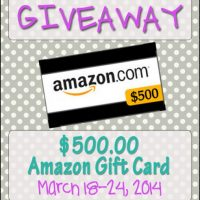 $500 Amazon Gift Card GIVEAWAY!!!