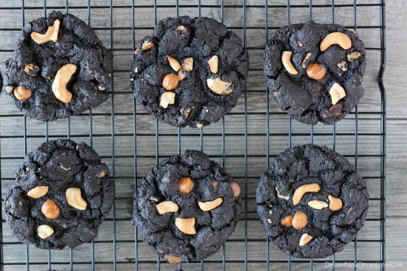 Dark Chocolate Caramel Cashew Cookies