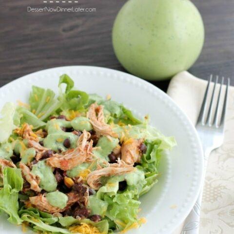 Crockpot Chicken and Black Bean Taco Salad