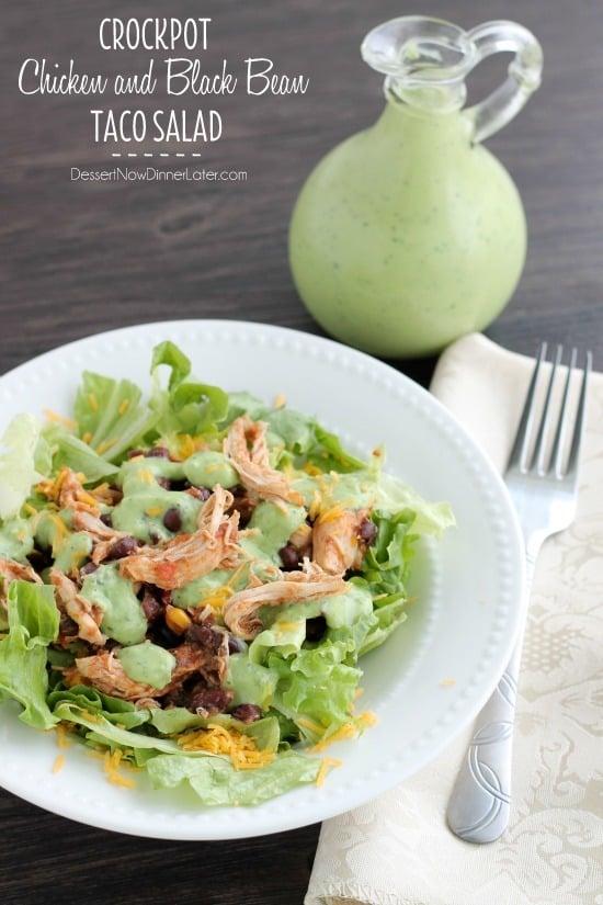 Crockpot Chicken and Black Bean Taco Salad - Dessert Now, Dinner Later ...