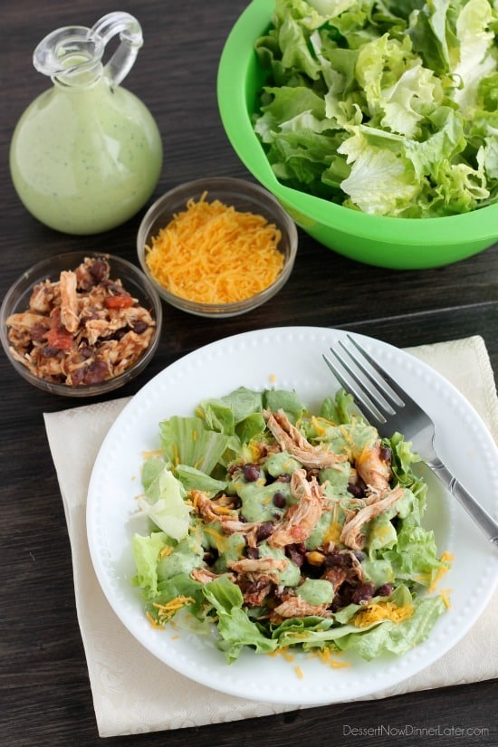 Crockpot Chicken and Black Bean Taco Salad