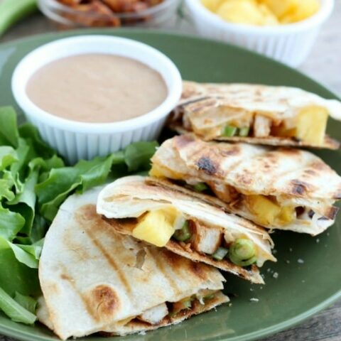 Grilled BBQ Chicken and Pineapple Quesadillas