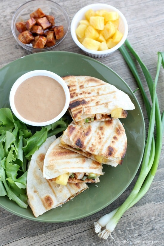 Grilled BBQ Chicken and Pineapple Quesadillas - Dessert Now, Dinner ...