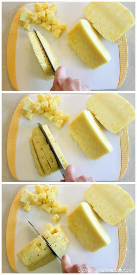 how to cut a pineapple into chunks
