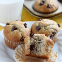 Banana Chocolate Chip Muffins from DessertNowDinnerLater.com